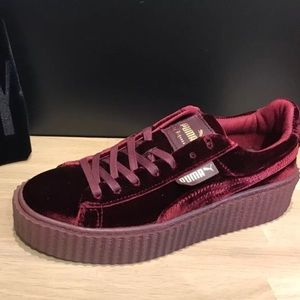 Red velvet puma sneakers